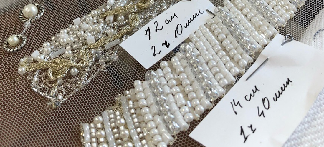 Тесьма с жемчугом для вышивки свадебного платья