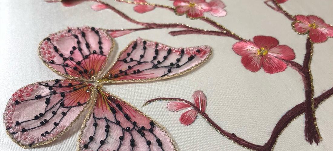 Вышивка на заказ: бабочка и ветка сакуры
